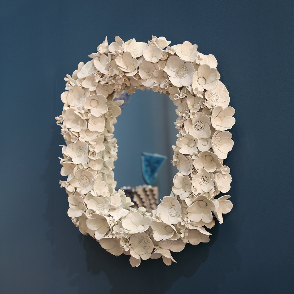 Oval Flower Collage Mirror