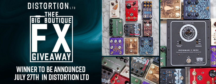 Giveaway includes: Deep Space Devices Golem, SolidGoldFX Counter Current, Chase Bliss Thermae, Haunted Labs Dark Aura, Beetronics FX Whoctahell, Massive FX Illusionist, Red Panda Labs Bitmap, Dusky Electronics Mandorla, Stacks FX Crazy Eight, Tone King Attenuator