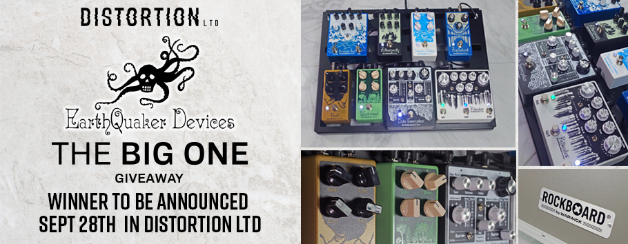 Giveaway includes: EQD Avalanche Run / EQD Afterneath / EQD Aqueduct / EQD Data Corruptor / EQD Dispatch Master / EQD Hoof / EQD Westwood / EQD Palisades / Rockboard Quad 4.1 pedalboard w/ flightcase, RockBoard by Warwick Power Pit, RockBoard by Warwick Assorted Flat Patch Cables. $2000 value.