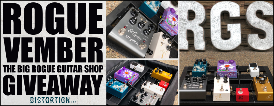 Giveaway includes: Jackson Audio Prism, JHS Morning Glory V4 Pearl and Gold, JHS Red Remote, Jam Retrovibe MkII, Strymon El Capistan dTape Echo, Walrus Fathom Multi-Function Reverb, TC Electronic Polytune 2 mini, Truetone 1Spot CS6 Power Supply, Pedal Train Classic Jr w. soft case , and EBS Flat Cables