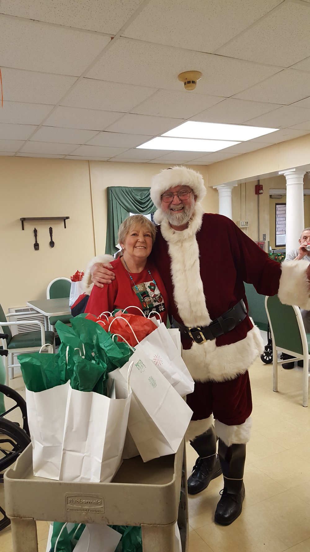 Santa visits Heritage Oaks at the annual Christmas party
