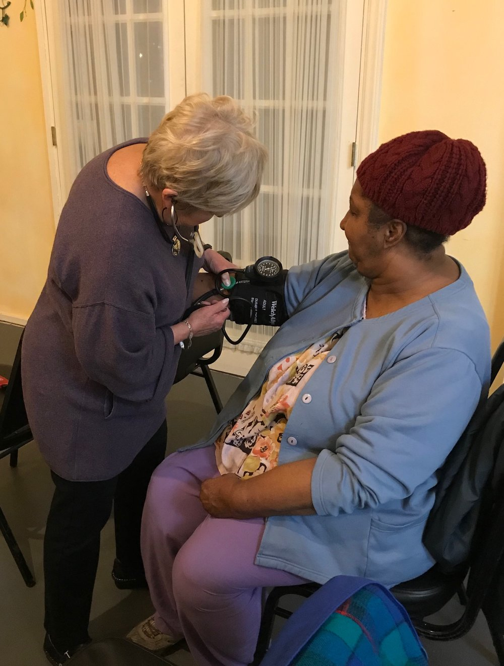 Vera taking blood pressure