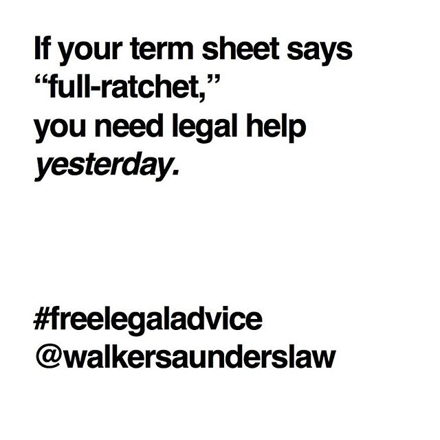 Down rounds happen. Protect yourself as best you can by negotiating a less egregious anti-dilution provision.  #ratchetmess #ratchet #law #venturecapital #startups #entrepreneur #startuplawyer #termsheet