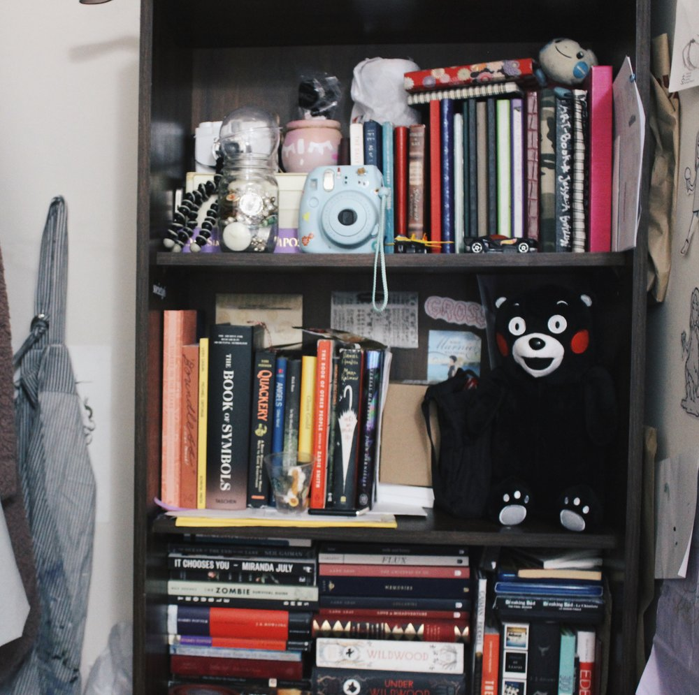 BONUS: My book shelf and one of my favourite characters, Kumamon.