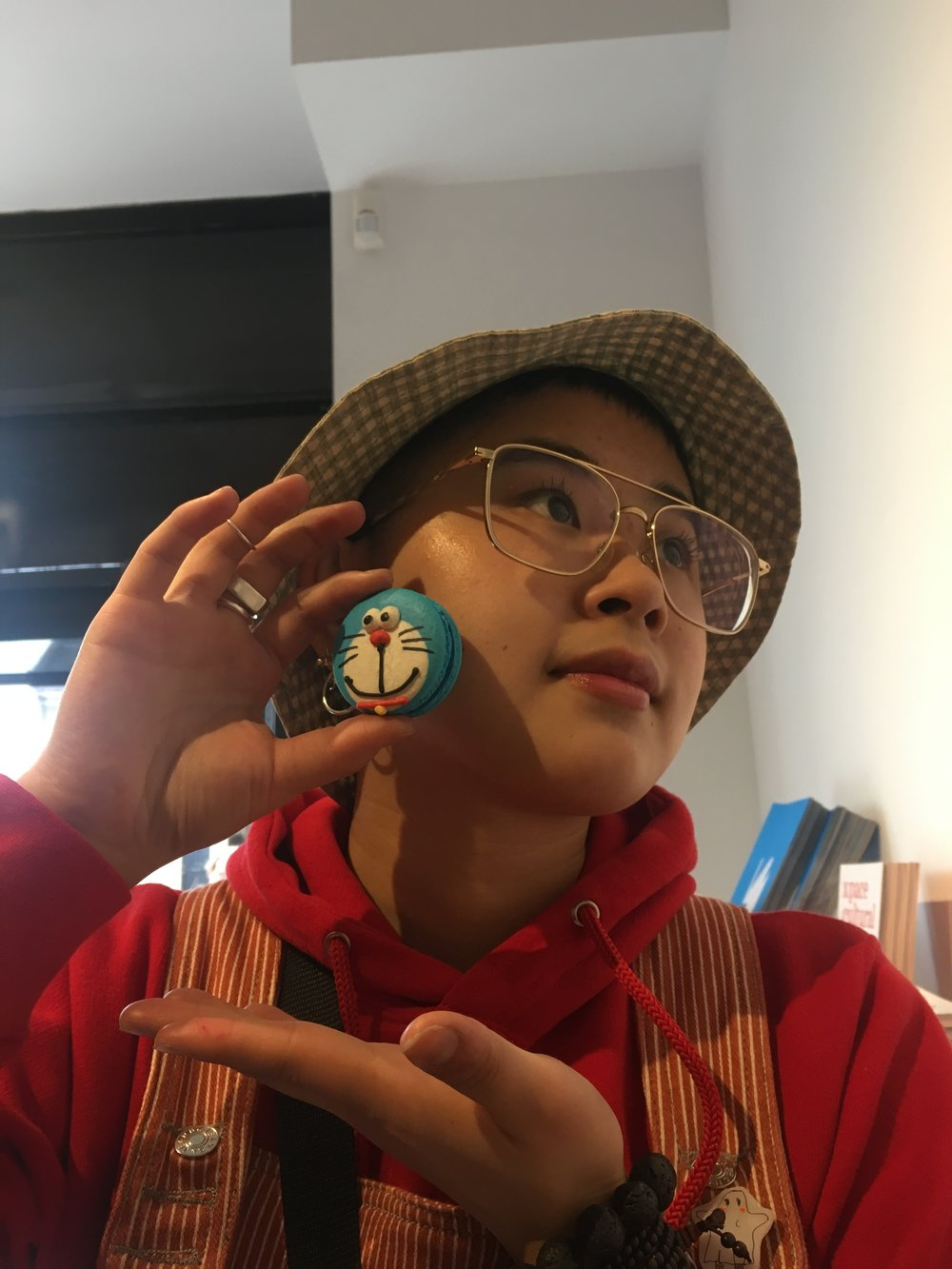sabrina with doraemon blueberry macaron