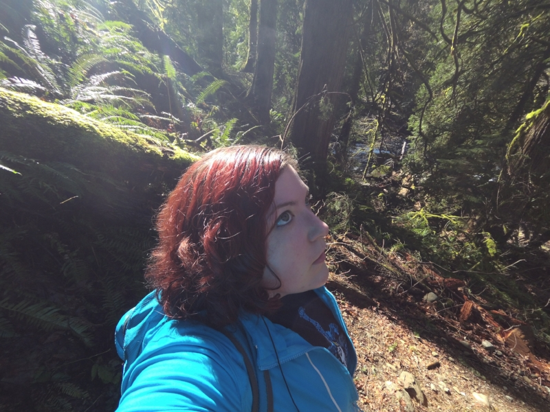 Me, seen here thinking deep thoughts about how tall trees are