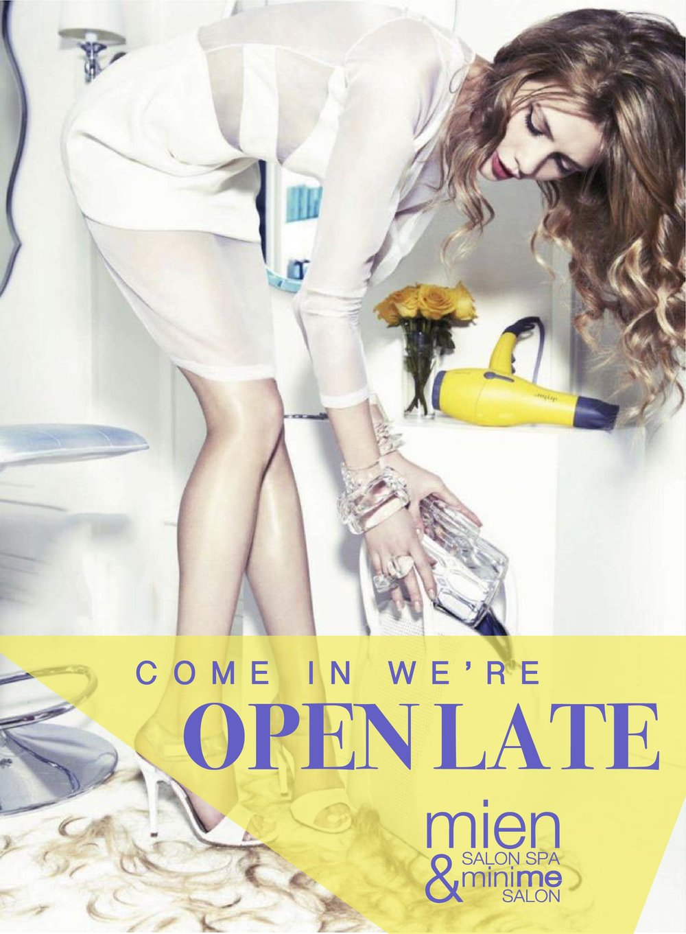 working long hours? - Want to get your hair done or pamper yourself in our beautiful spa during the week but struggle to get away from the office during business hours?GOOD NEWS!!!!We will be extending our opening hours:MIEN SALON SPA:TUES - FRI: 10am - 9pmSAT: 9am - 5pmSUN: CLOSEDMini Me SalonTUES: 10am - 6pmWED - FRI: 10am - 9pmSAT: 9am - 5pmSUN: CLOSEDCALL OR BOOK ONLINE NOW!