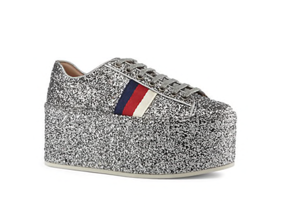 Gucci  Peggy Glitter Platform Sneakers - $940