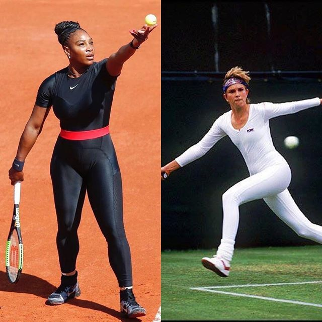 Sis (the board of the French Open), let's just fight. 👏🏾 #Repost @ninagarcia ・・・ Anne White, Wimbledon 1985. @serenawilliams 2018 (outfit banned at the French Open). I hope they will reconsider their decision to ban her life-saving catsuit. Serena, you have our @elleusa support! #serenawilliams #tennis #frenchopen #nike