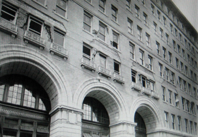 Damage to the Marunouchi Building. The original building was completed in 1923. Today's building was completed in 2002.