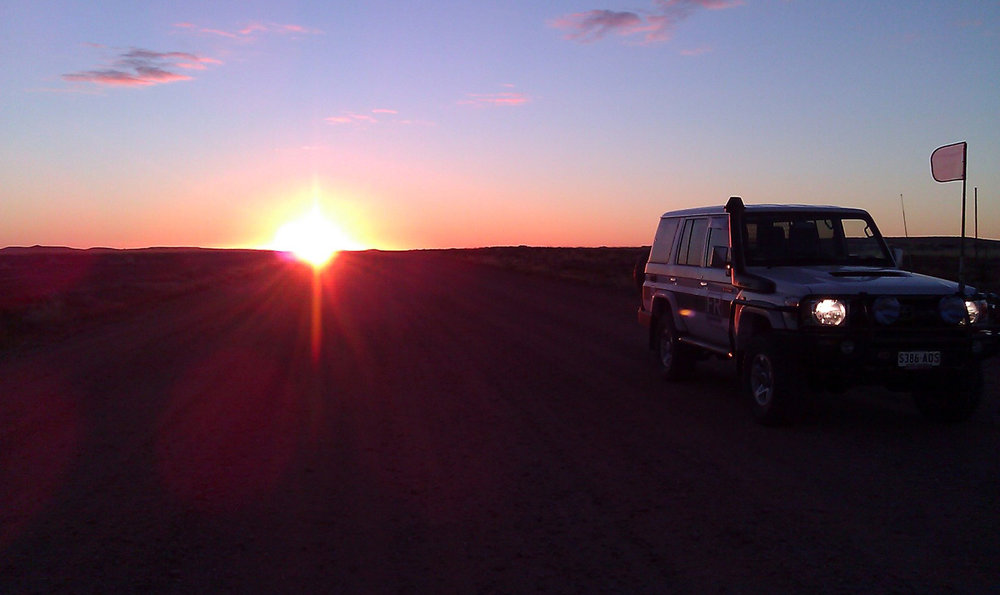 Showcase truck sunset Australia outback Farley Riggs