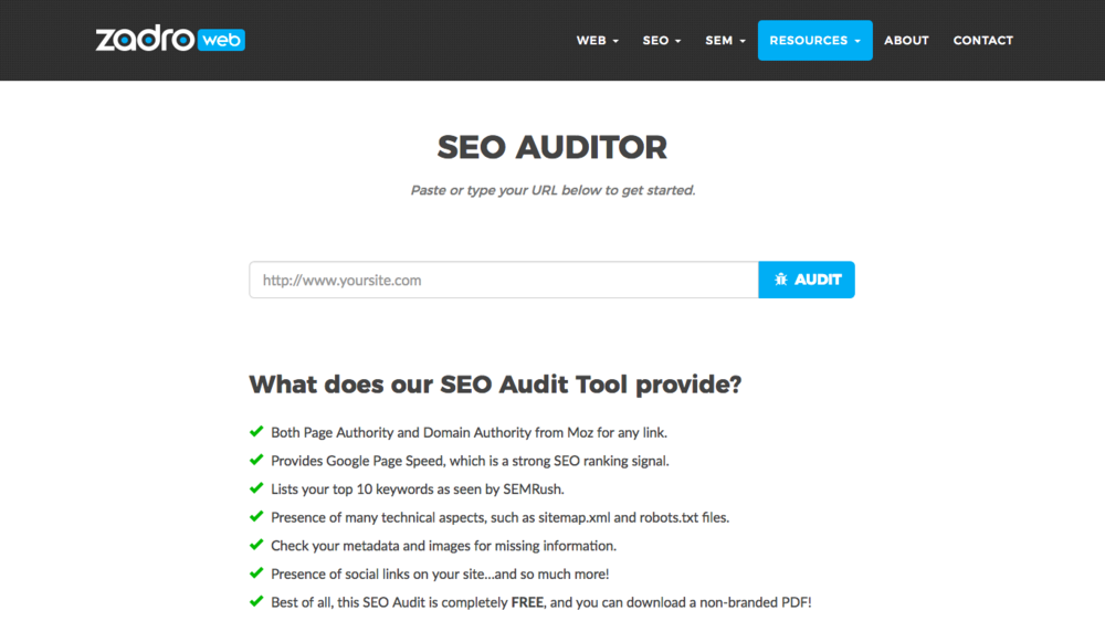 free-seo-audit-report-zadro