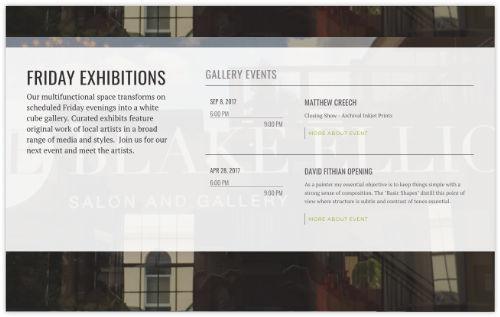 homepage exhibition listing