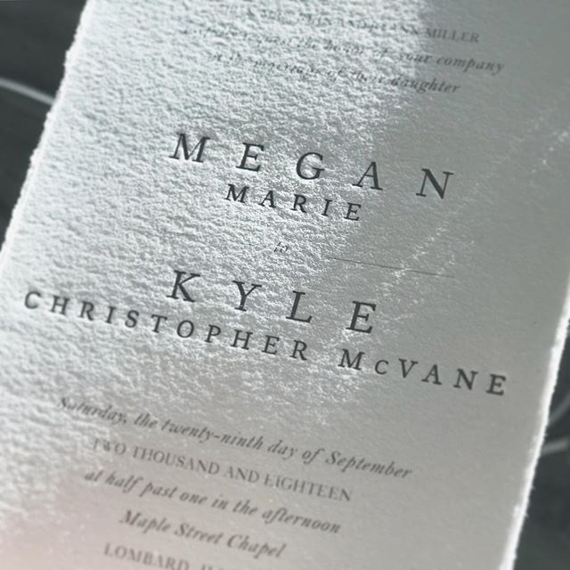✨I love this process shot from Megan & Kyle's invitation—it captures the tooth of the paper and the bite of the letterpress so beautifully! #letterpresslove