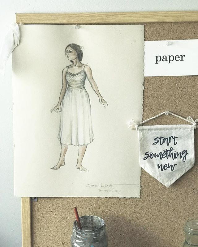 I was cleaning up my studio recently and found one of my favorite drawings from when I was a costume designer for theater. The drawing and painting was always my favorite part of the whole process, which is why I love that I can still do that, and create something special for the couples I design for. So excited for 2019 and all of my new clients getting married this year!!🥰 #newyear2019 #startsomethingnew #mycreativebiz