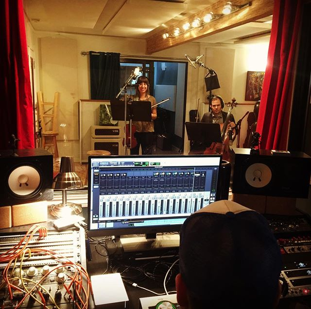 Recording string for Unusual Girl at Allegiant Studios in San Rafael