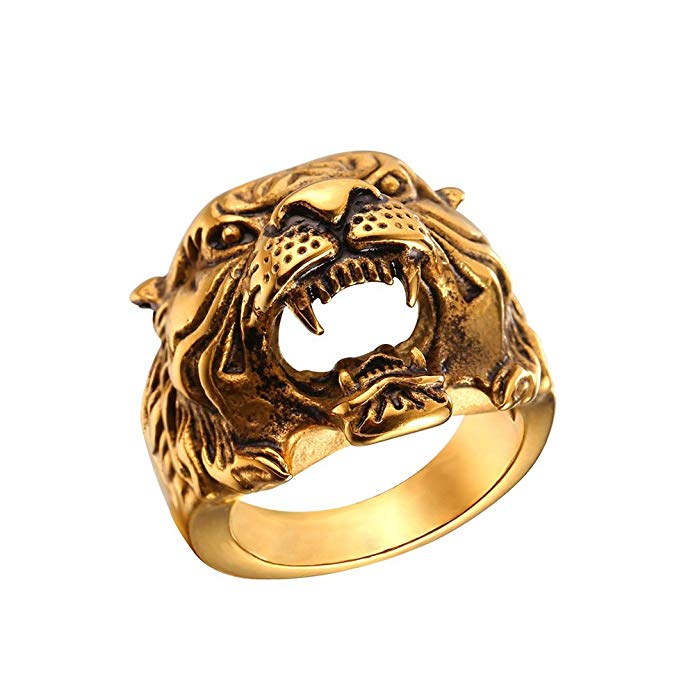 Men's Black Stainless Tiger Ring (sz7)
