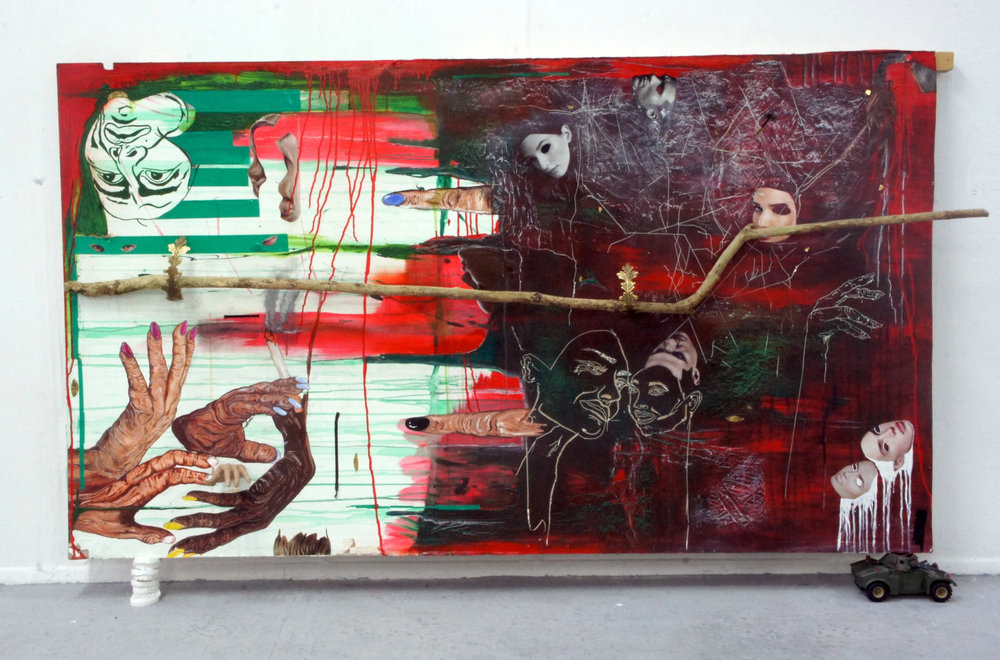 Spontaneous Combustion, 2016  Found Wood, Acrylic, Tape, Collage, Card, Varnish, Pen, Charcoal, Pastels, Found Objects