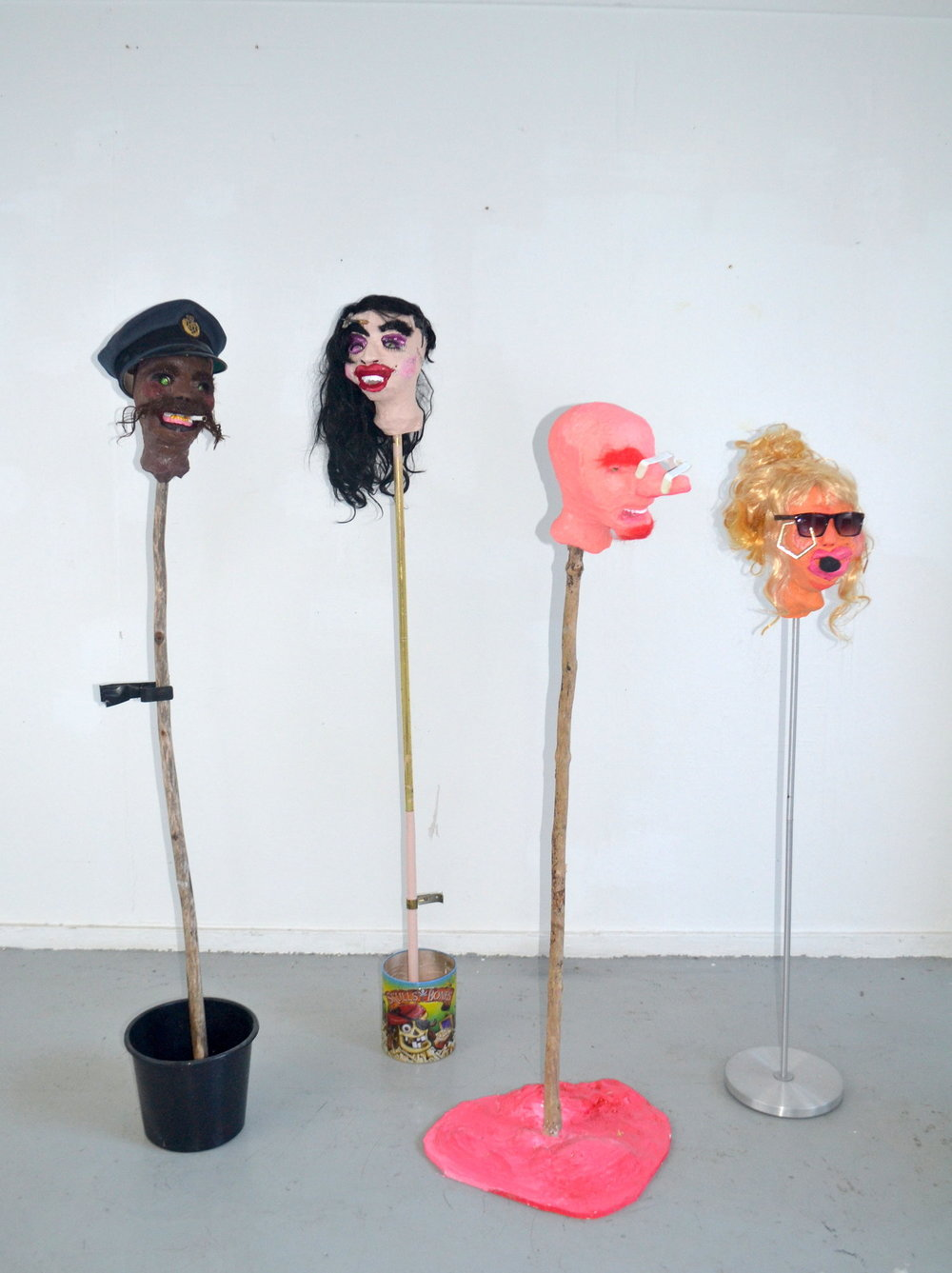 Keep Ya Head Up, 2015  Found & Personal Objects, Wood, Plaster, Synthetic Hair, Acrylic Paints, Oil Pastels, Pen