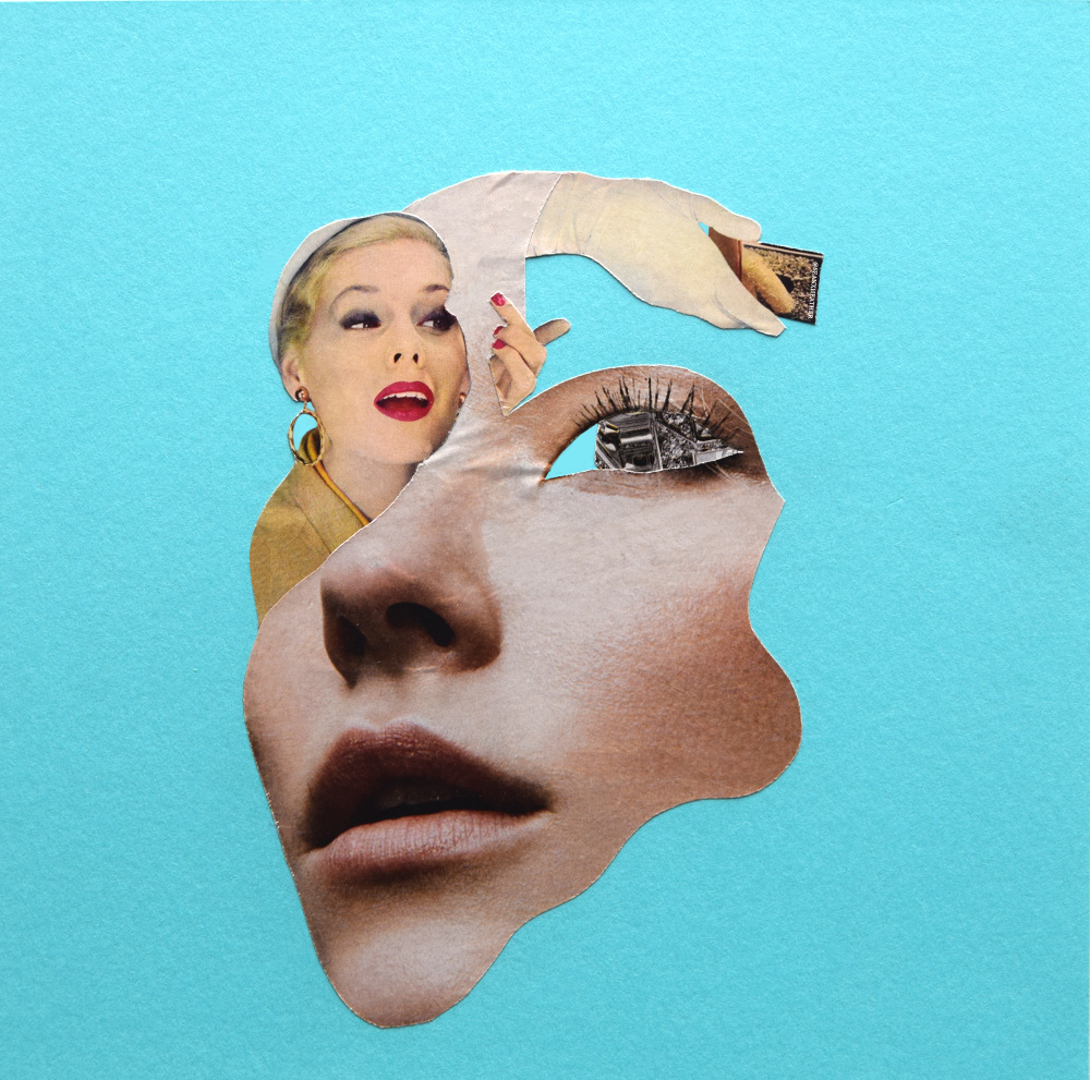 Breakfast at Tiffany's  SOLD   Hand Cut Paper Collage