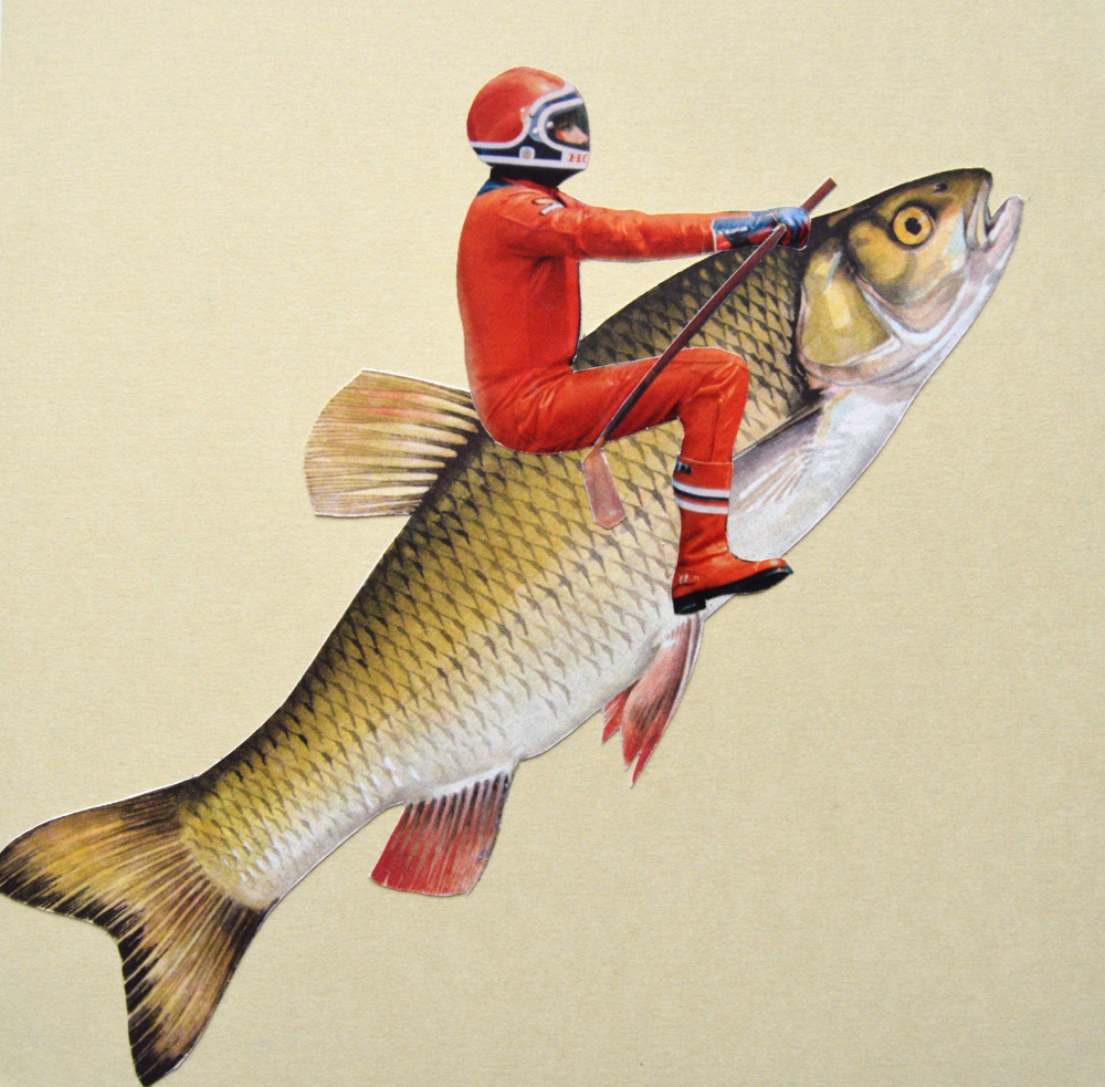 Let's go fishing  SOLD   Hand Cut Paper Collage