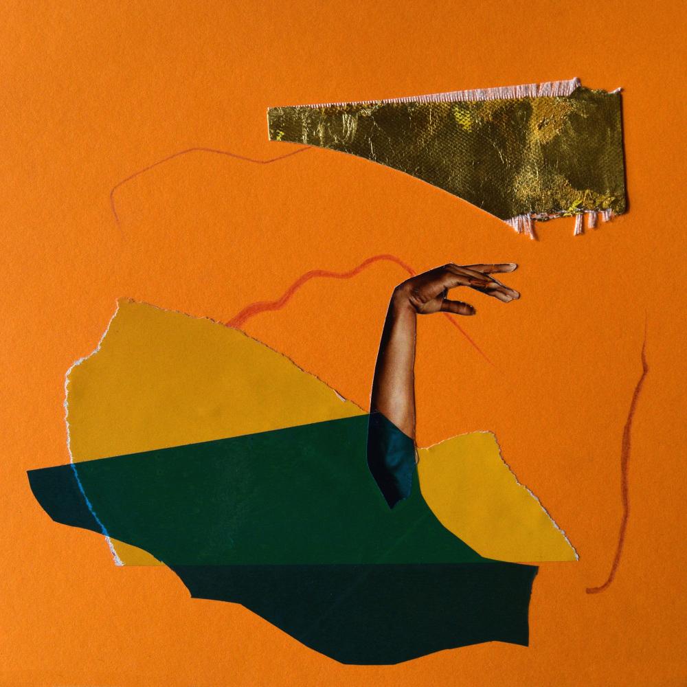 Vogue  Hand Cut Paper Collage, pencil, gold leaf, vinyl