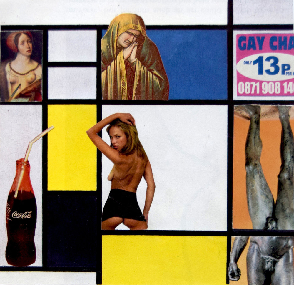 Mondrian Babes  Hand Cut Paper Collage