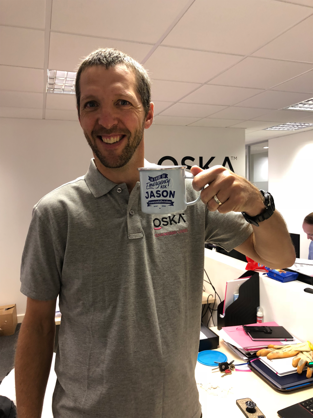 Jason kicks off the morning with a cup of coffee!