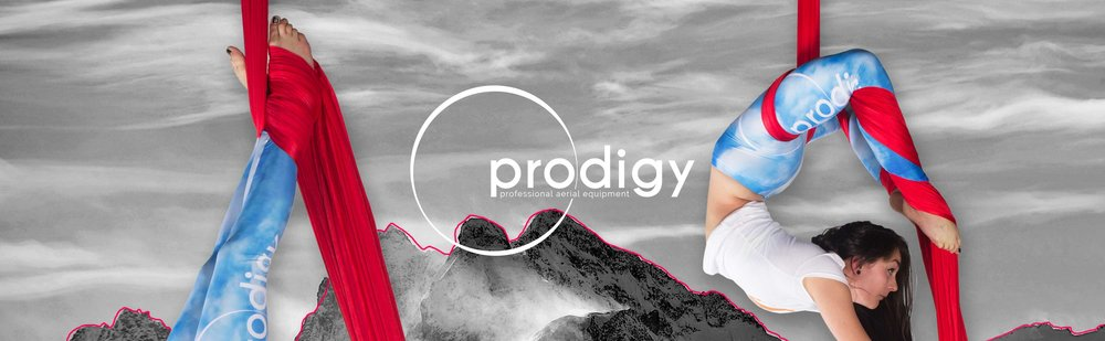 prodigy aerial - Logo design and branding for a company specialising in high end aerial arts equipment.The brief for the logo asked for it to be representative of flow and the arts, whilst also representing strength, professionalism and security. Circles are a common shape found throughout aerial arts; be it a pulley or a carabiner, a performer's movement through the air, or an aerial ring. This circular idea also lent itself well to the supporting promotional imagery of the sky, sun and the moon.