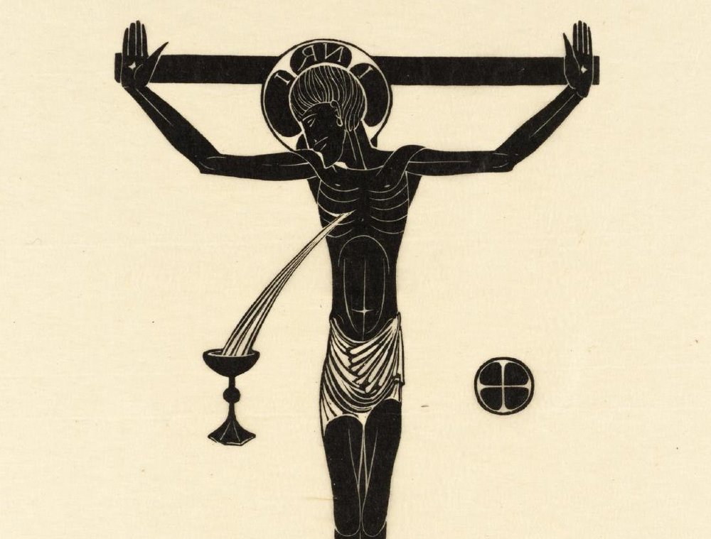 Eric Gill.  Crucifix, Chalice & Host .