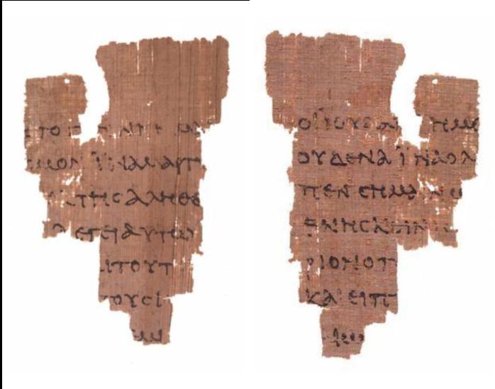 Rylands Library Papyrus P52 (verso, recto; Jn 18.37-38, Jn 18.31-33).