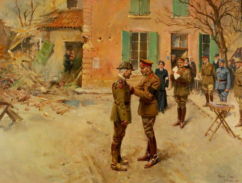 Terence Cuneo.  Presentation of the Victoria Cross to the Reverend Theodore Bayley Hardy, VC, DSO, MC by HM King George V (1865–1936) .