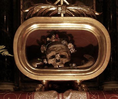 Allegedly the skull of St Valentine, in the Basilica di Santa Maria in Cosmedin, Rome.