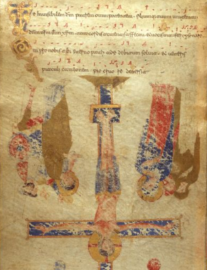 British Library MS 30337: Exultet (the Monte Cassino Exultet Roll), c. 1075-1080 CE. This is an excellent example of a medieval Exultet roll. As is typical, the images are upside down from the perspective of the deacon, so that the congregation can see them the right way up as the deacon gradually unfolds the roll, letting it fall off the ambo.