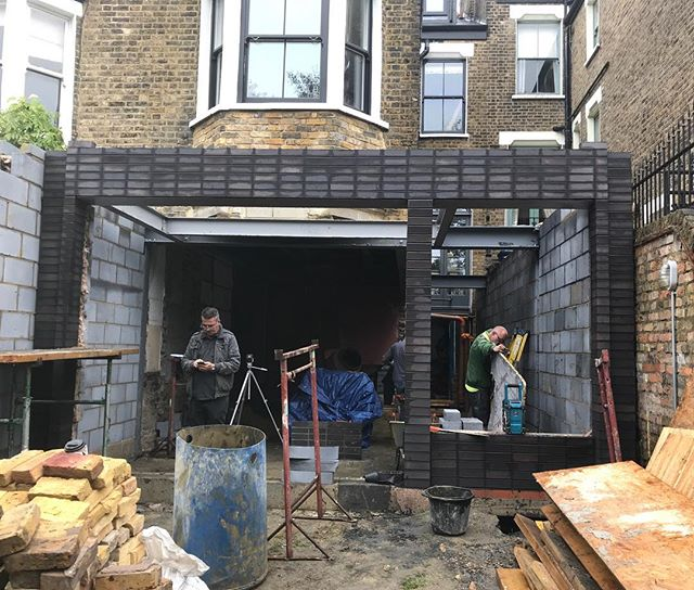 Flashed black bricks taking shape on another extension with @gruffltd in #se14 #construction #designbuild #architecture #bricks
