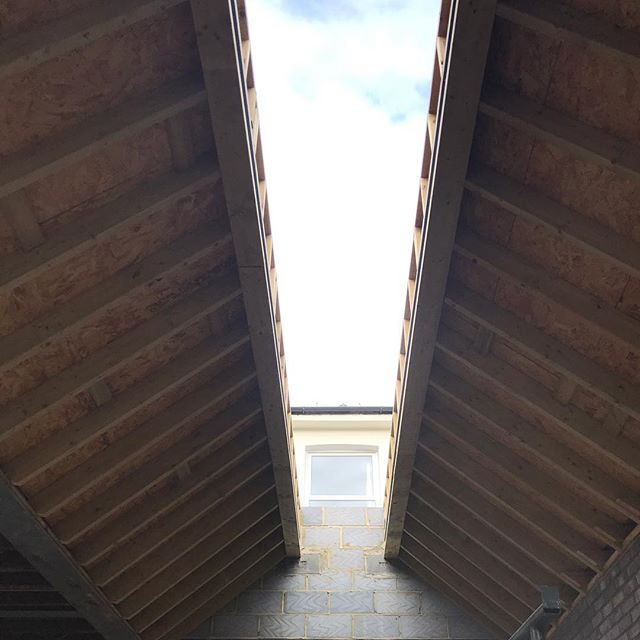 Large skylight taking shape on another extension in #se4. More images to follow on this rear extension and house refurb. #construction #rooflight #skylight #structuralglazing #architecture #details #zinc #bespoke
