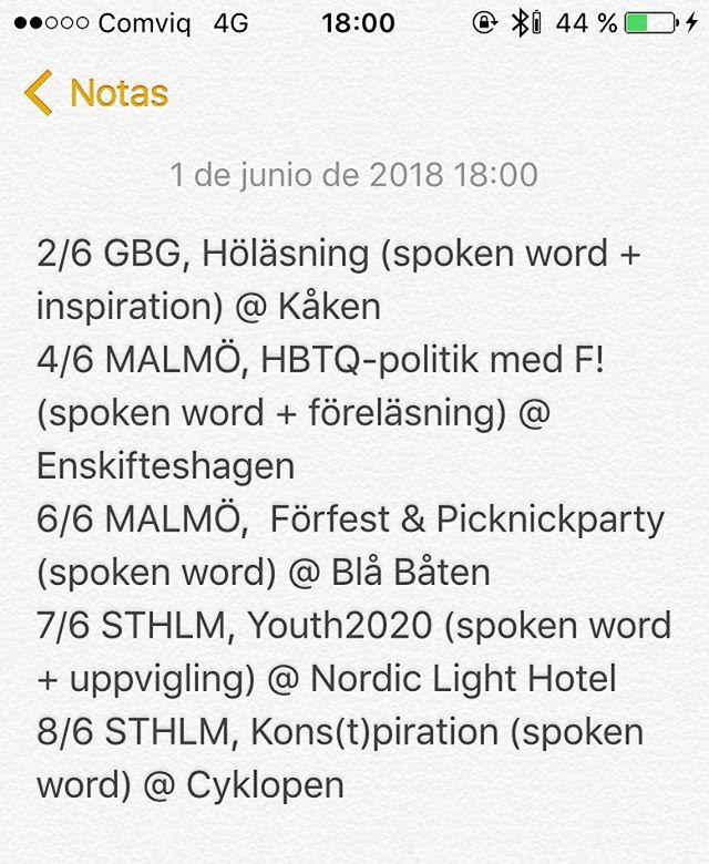ska på en veckas tour nu! CATCH ME #spokenword #rosa #trans #takeover - - - bilden säger: 2/6 GBG, Höläsning (spoken word + inspiration) @ Kåken 4/6 MALMÖ, HBTQ-politik med F! (spoken word + föreläsning) @ Enskifteshagen  6/6 MALMÖ,  Förfest & Picknickparty (spoken word) @ Blå Båten 7/6 STHLM, Youth2020 (spoken word + uppvigling) @ Nordic Light Hotel 8/6 STHLM, Kons(t)piration (spoken word) @ Cyklopen  o i spoken word ingår så klart dåliga skämt dumma anekdoter publikrostning o pinsamma tystnader
