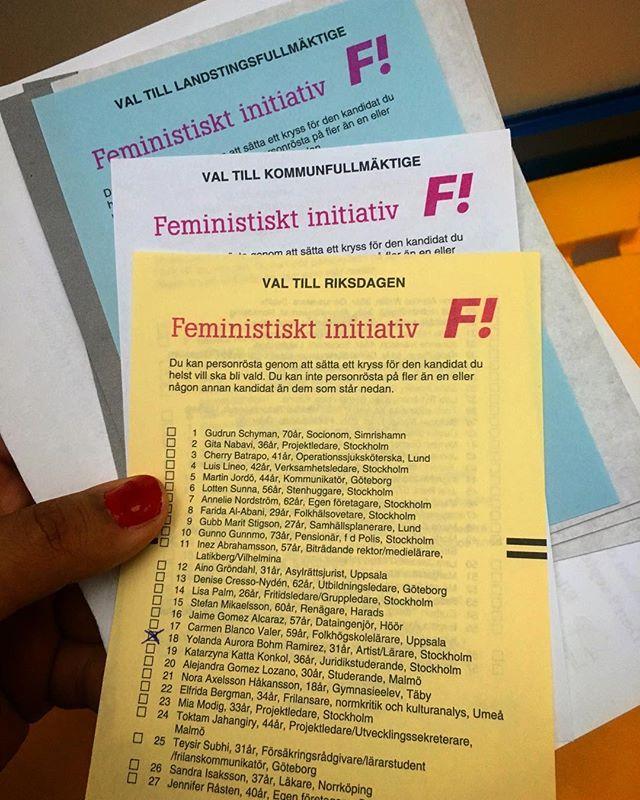 Ifall någon missat så kan en rösta på mig till riksdagen för @feministerna . Lessgo rosa revolution! Jag är kultur- och hbtqia-politisk talesperson. Så om ni har frågar är det bara langa! Kan även svara på allmänna frågor, men inte lika bra :p HIT ME AMA
