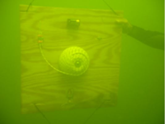 A diver steadies an improvised floating mine.