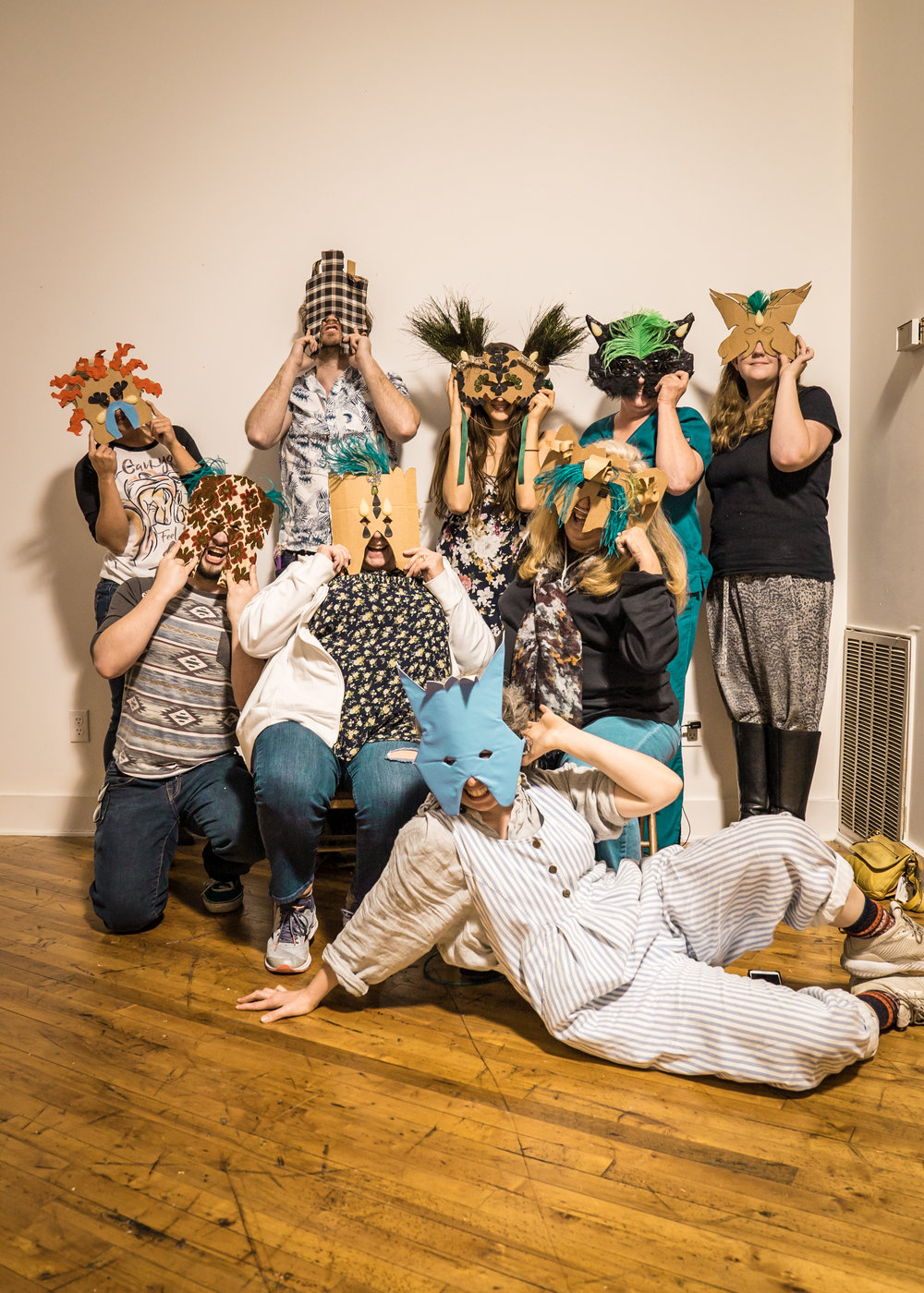 Storytelling Through Masquerade workshop participants. LIT Gallery. Chattanooga, TN. 2018.