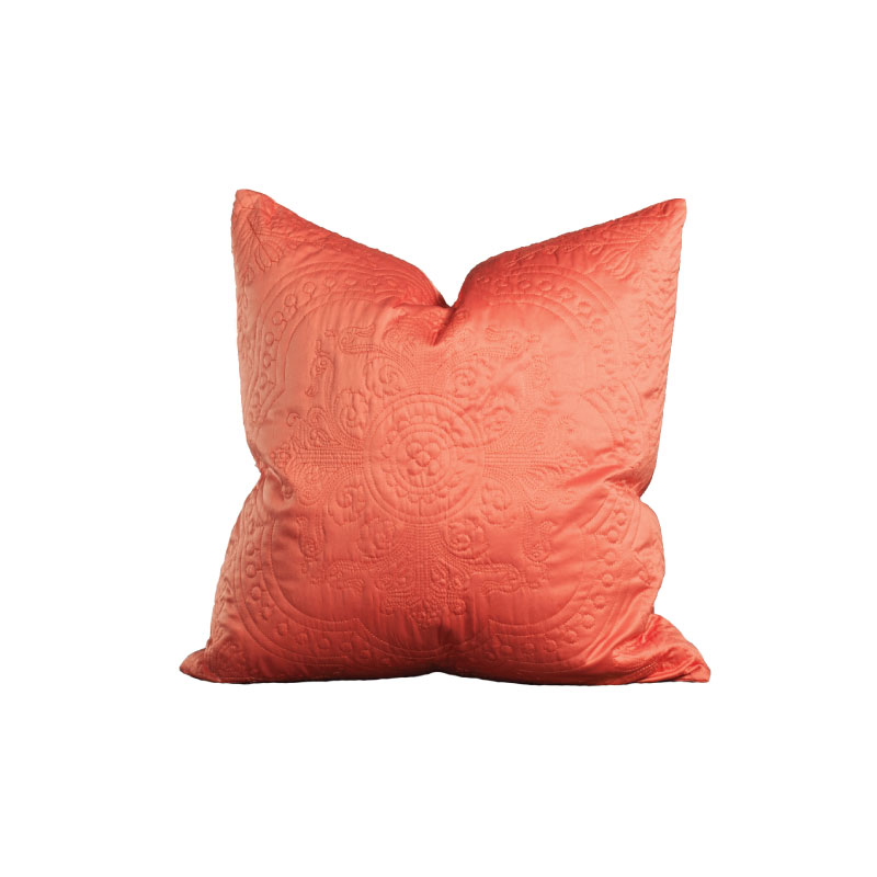 "CORAL SILK PILLOW   18""l x 18""h"