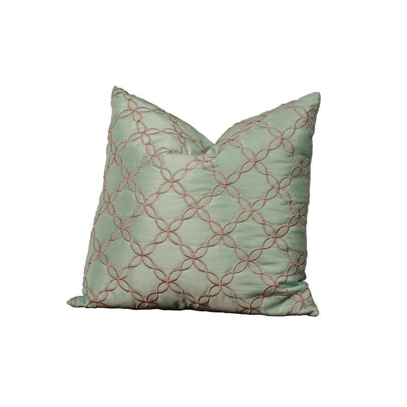 "AQUA & GREY SILK PILLOW   18""l x 18""h"