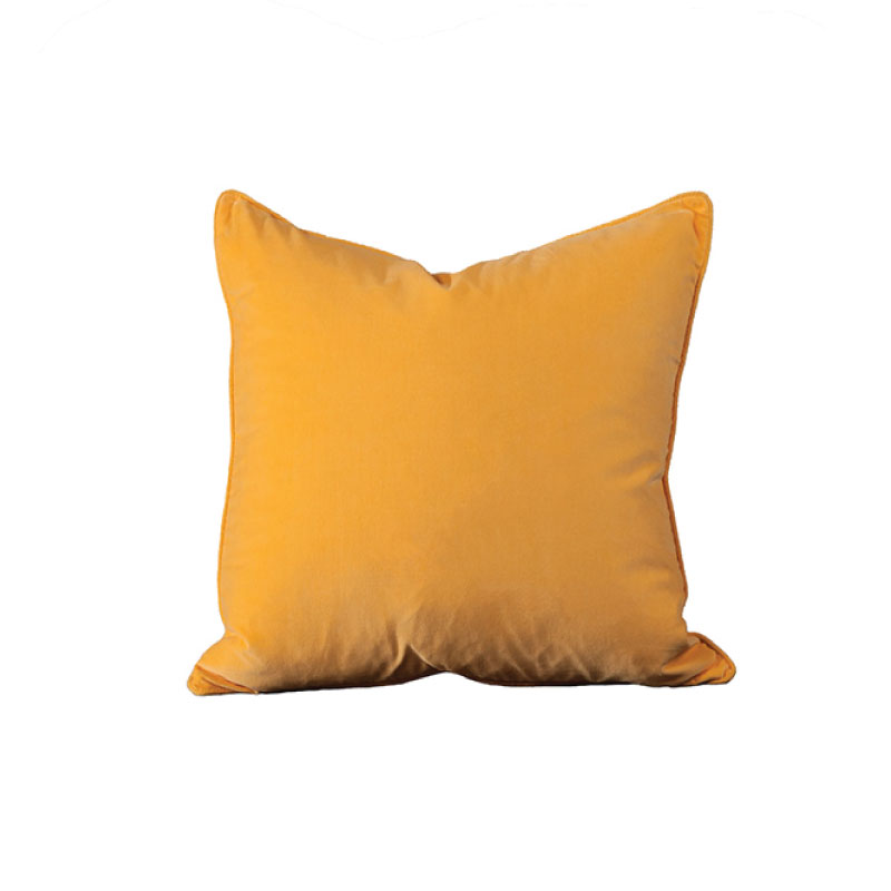 "YELLOW VELVET PILLOW   18""l x 18""h"