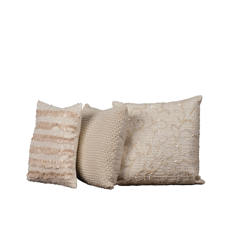 "PEARL & SEQUIN MINI PILLOWS   12""l x 12""h (average)"