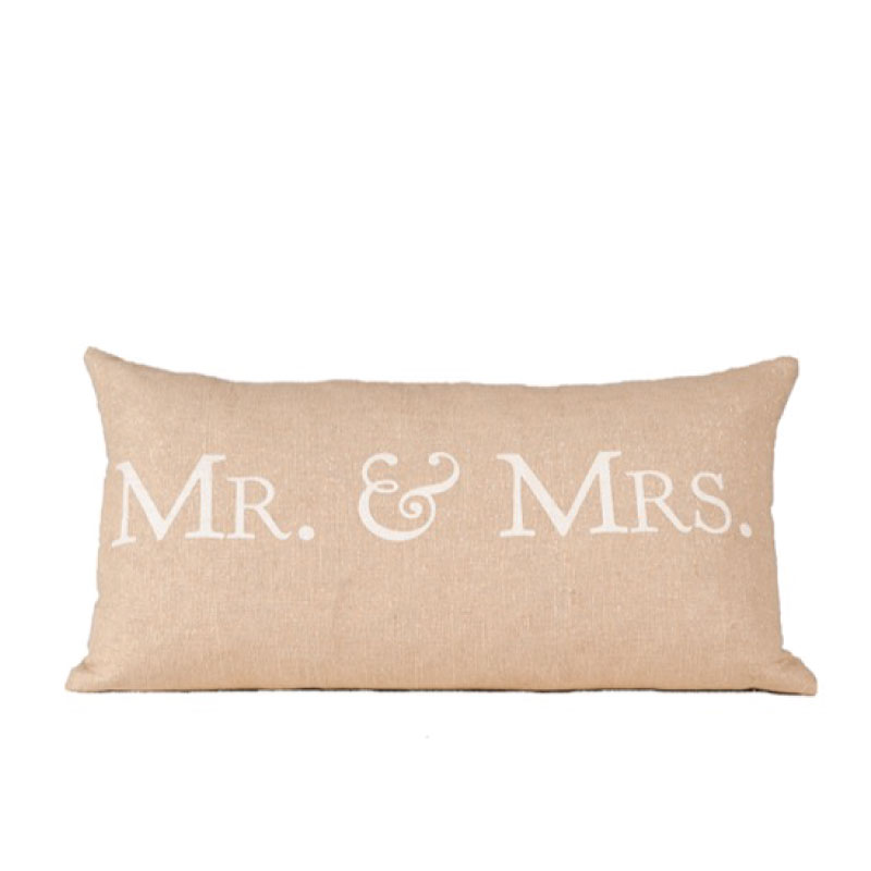 "MR & MRS ACCENT PILLOW   24""l x 14""h"
