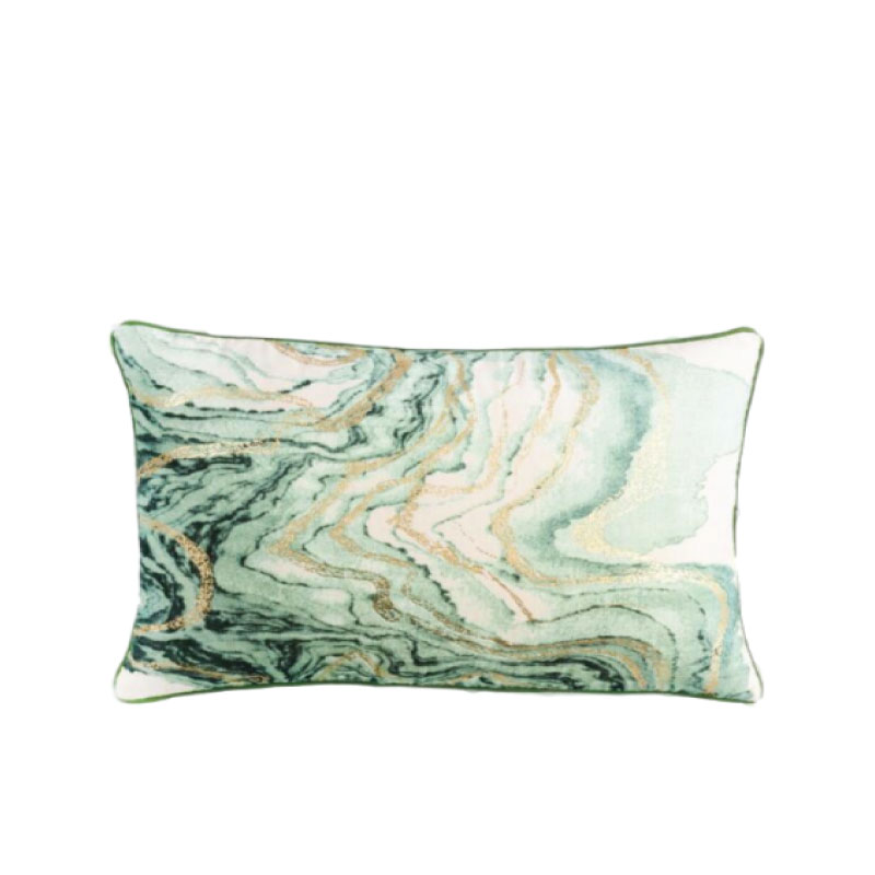 "GREEN MARBLE ACCENT PILLOW   24""l x 16""h"