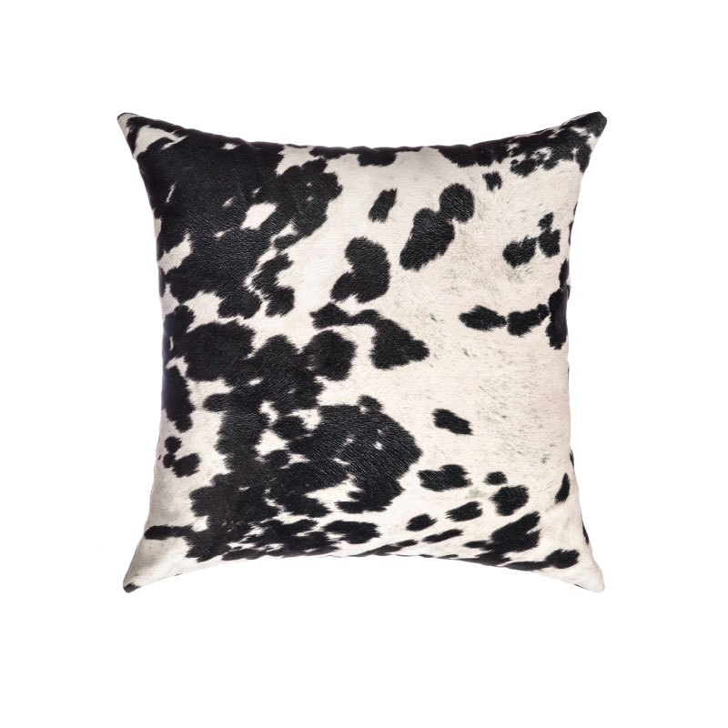 "BLACK & WHITE FAUX COWHIDE PILLOW   18""l x 18""h"