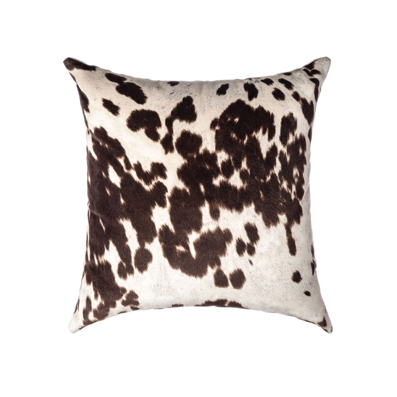 "BROWN & WHITE FAUX COWHIDE PILLOW   18""l x 18""h"