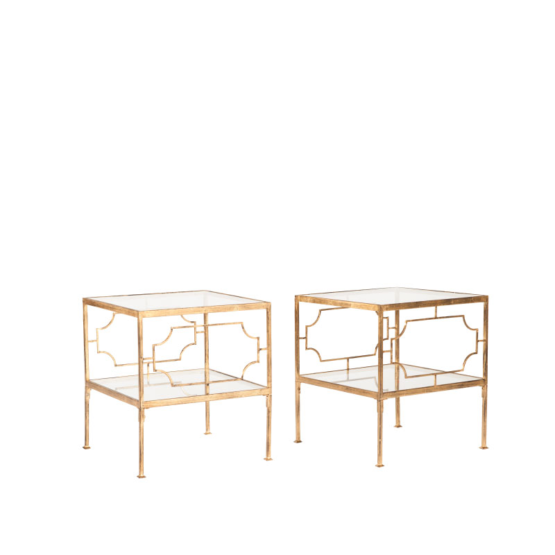 "GOLD BUNCHING COFFEE TABLES   19""l x 19""d x 19""h (each)"