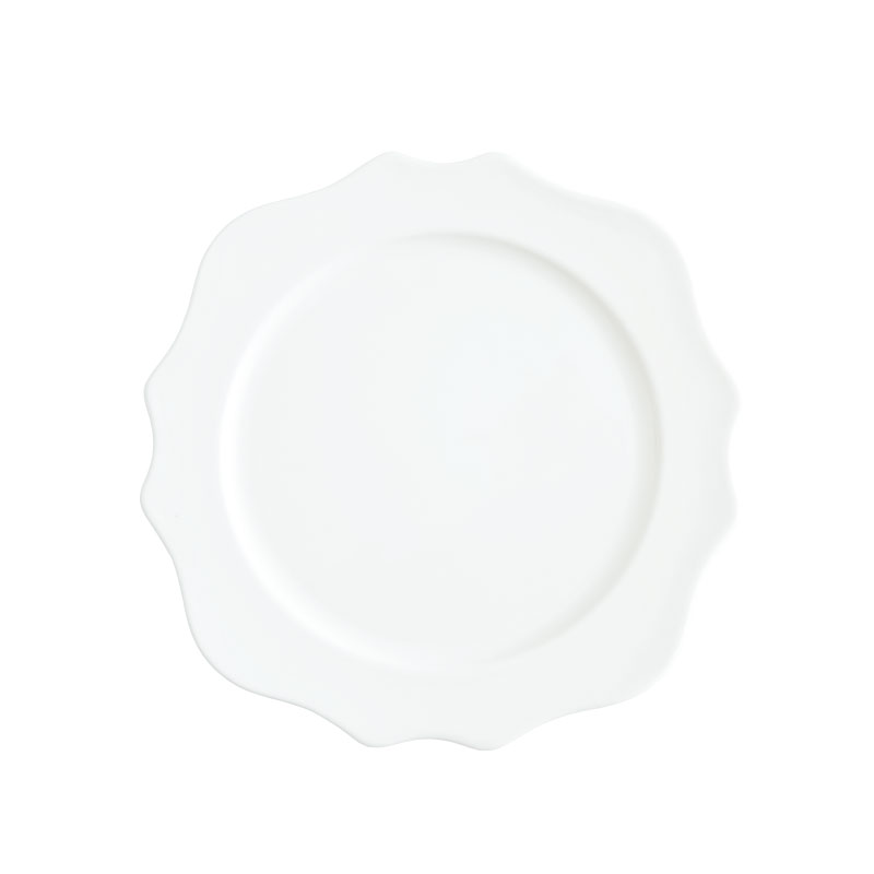 "MADISON WHITE    available in: Dinner Plate (10.75""), Salad/Dessert Plate (8.25""), Bread/Saucer (6"")"